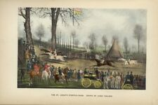 JAMES POLLARD COLORED STEEPLECHASE PRINT ST. ALBAN'S STEEPLE-CHASE HORSE RACE