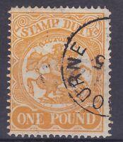 BD311) VICTORIA 1879-1900 STAMP DUTY Arms One Pound Orange cto