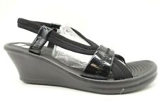 Skechers Black Stretch Slingback Dress Casual Wedge Sandals Shoes Women's 8