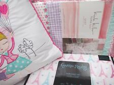 NICOLE MILLER Kids 5pc Eiffel Tower Bicycle Floral Quilt Sheets Set Pillow -Twin