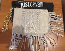 JUST CAVALLI Croc-Effect Silver Metallic Leather Fringe Clutch Bag Purse - £275