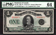 Dominion of Canada 1923 One Dollar BLACK SEAL DC-25o Series 'E' PMG 64 Ch UNC
