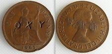 Da collezione 1963 Regina Elisabetta II ONE PENNY COIN-contro-timbrato OXY