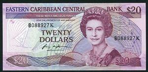 East Caribbean States K St. Kitts 20$ 1988-1993 QEII & Surfer P24k1 Sign 1 UNC