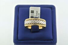 Wedding Band, 8mm, 11gm, Size 11 Fancy 14k Two Tone Comfort Fit Men's