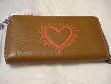 COACH Keith Haring Heart Pebble Leather Zip Accordion Wallet SADDLE 11805 NWT