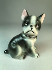 "VINTAGE BOSTON TERRIER DOG FIGURINE WEARING A COLLAR WITH A ""BOSTON"" NAMEPLATE"