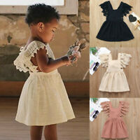 Toddler Kids Baby Girls Sleeveless Lace Floral Solid Princess Dress Clothing NEW