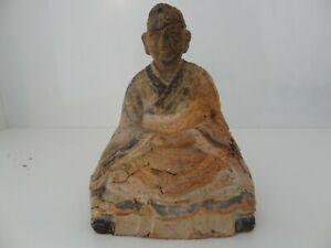 ANTIQUE  TIBETAN MONGOLIAN BUDDHIST HAND MADE CLAY STATUE OF LAMA