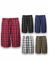 NEW Men Plaid Cargo Shorts Elastic Waist BIG & Tall S-5XL Drawstrings 7 Colors
