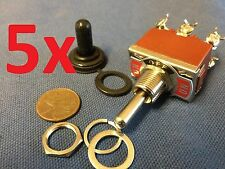 """5x waterproof DPDT Momentary-Off-Momentary ON/OFF/ON Toggle Switches 15A 1/2"""""""
