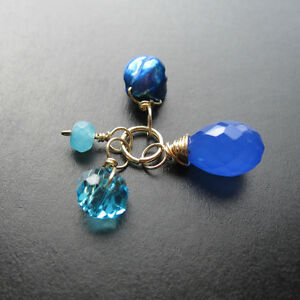 Shades of Blue Wire Wrapped Gemstones Pendant