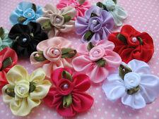 40 Ruffle Satin Ribbon Rose Leaves Pearl-Mix