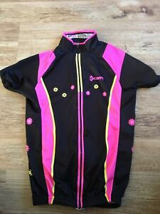 "Girls Black Pink Flower Gear Club Cycling Top T-shirt Size 34"""