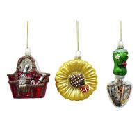 Glass Gardening Theme Christmas Ornaments St Nicholas Square Set of 3