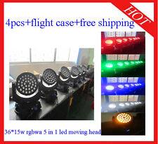 4pcs Colorfull 36*15W RGBWA Led Moving Head Zoom Light Flight Case Free Shipping