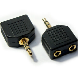 Black Stereo Audio Splitter GOLD 3.5mm JACK Male to 2 Dual Female
