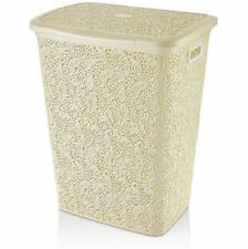 57 Litre Laundry Basket Plastic Hamper Washing Clothes Stoarge Bin With Lid