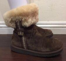 RARE❤️ UGG Australia Metro Tas Cuff Boots Espresso Tasman Braid S/N 5677 Sz 5