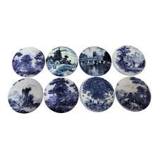 Set of 8 Delft Blue Wood Cabinet Knobs