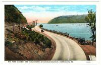 Undated Unused Postcard Wm Penn Highway and Susquehanna River Harrisburg PA