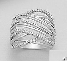 19mm Wide Solid Sterling Silver Multi-Band CZ Ring sz8 6.9g
