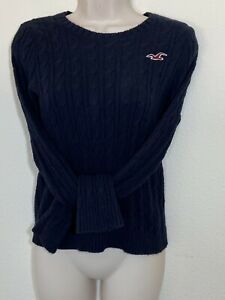 Womens Hollister Cable Knit Sweater Long Sleeve Size Medium Navy Blue Fitted MA