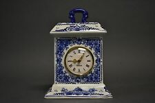 Delft Holland Porcelain Clock White & Blue Art With Makers Mark Made in Germany