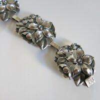 Sterling Silver Gicini Repousse Floral Bracelet 24.3g 7 in [4831]