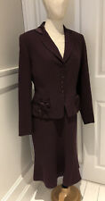 Paddy Campbell Ladies Dress & Jacket Suit Size 14 (12) Wool Silk Aubergine