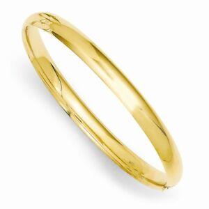 "14k Yellow Gold Polished 3/16 Hinged Baby Bangle Children's Bracelet 6"""