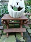 Vintage Fluted Wood Folding 9he Step Stool Plant Stand Rustic Spattered Paint