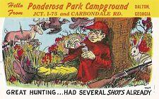 Postcard GA Dalton Ponderosa Park Campground Great Hunting 1970s Hunor Nr MINT