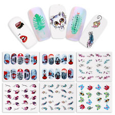 12 Sheets Nail Art Water Decal Cat  Flower Butterfly Feather Transfer Stickers