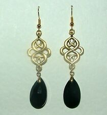 VICTORIAN PERSIAN STYLE BLACK FACETED GLASS GOLD PLATED EARRINGS