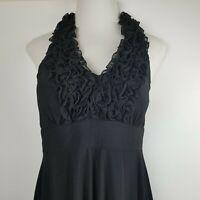 Dressbarn Womens Size 12 Black Sleeveless Ruffled Halter Cocktail Party Dress