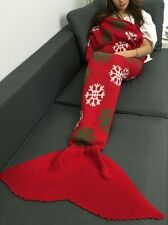 4x New Christmas Snow Flake Winter Mermaid Tail Blanket Rugs Sleeping Bag Red