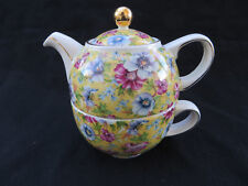 Sadler Sophie Chintz Yellow Floral Individual Stacking Teapot & Cup- Tea for One