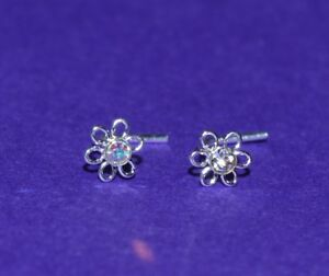 Sterling silver 4 mm flower with clear or AB crystal  L shaped nose stud