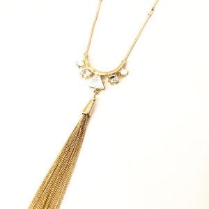 Ann Taylor LOFT Women's Opal Crystal tassel Pendant Necklace NWT 39.50