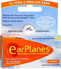 Earplanes for Airplane Flight Ear Pain /  Discomfort - Kid's Size, 1 pair