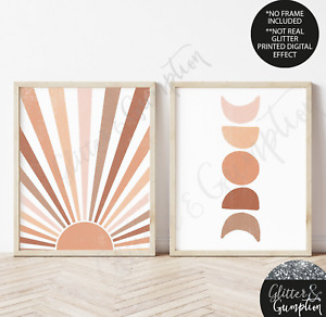 Sun and Moon Print, Boho Decor, Midcentury Modern Wall Art, Neutral Wall print