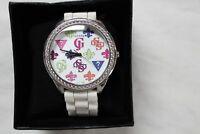 Guess Wonderlust Ladies Watch W75028L3  W/Colorful Symbols + Diamonds Must Look!