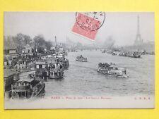 cpa PARIS en 1907 Point du Jour Embarcadères Les BATEAUX PARISIENS sur la SEINE