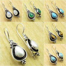 Select Your GEMSTONE ! PEARL & Other Stones, 925 Silver Plated Oxidized Earrings