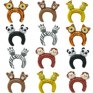 NEW 12 PACK INFLATABLE JUNGLE ANIMAL THEMED FOIL HEADBANDS PARTY HAT GAMES