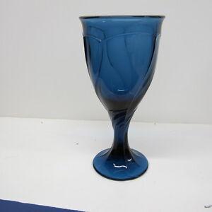 "NORITAKE Sweet Swirl Dark Blue Midnight 7 3/8"" Water Wine Goblet Glassware 8 oz."