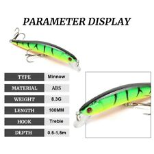 Fishing Minnow Hard Lure Artificial Bait Floating Wobbler Hooks Catch Fish Lures