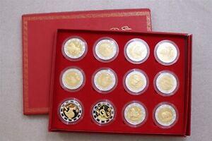 CHINA LUNAR YEAR PROOF BIMETAL MEDALS COMPLETE SET IN ORIGINAL BOX B30 BX11 - 9