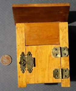1930-40s Great Depression Era Tramp art wooden articulated ice box-Brass hinges!